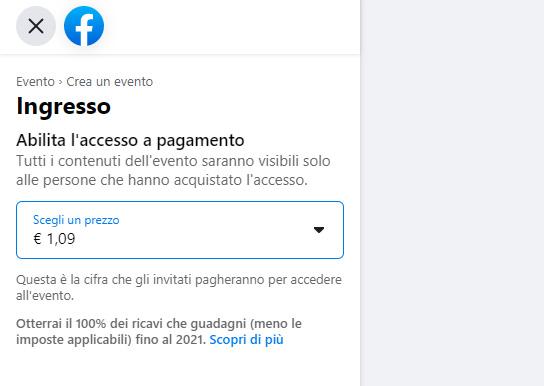 screenshot durante la creazione di un evento a pagamento su Facebook con riprese video in diretta streaming live sul web