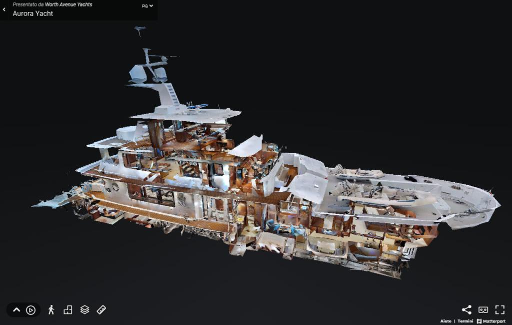 vista dollhouse di un virtual tour Matterport su un panfilo